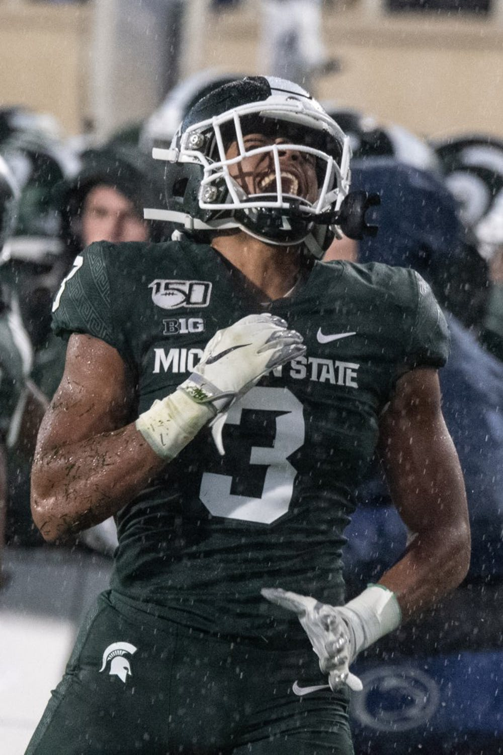 Sophomore safety Xavier Henderson (3) screams during the game against Penn State Oct. 26, 2019 at Spartan Stadium.