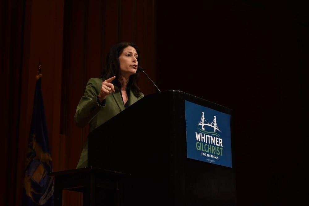 Democratic nominee for attorney general Dana Nessel speaks at U-M's Rackham Auditorium on Oct. 19.