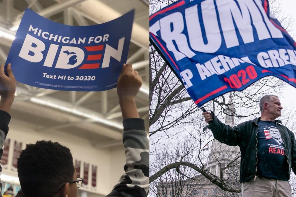 <p>A supporter of former vice president and presidential candidate Joe Biden&#x27;s campaign holds a sign at an event in Detroit (left) and a man waves a Trump flag at the Operation Gridlock protest April 15, 2020 in Lansing (right)<br/><br/><br/></p>