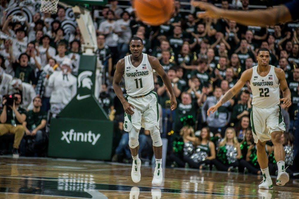 Senior guard Lourawls Nairn Jr. (11) reacts after scoring during the game against Penn State on Jan. 31, 2018 at Breslin Center. The Spartans trailed the Nittany Lions at 30-24 at halftime.