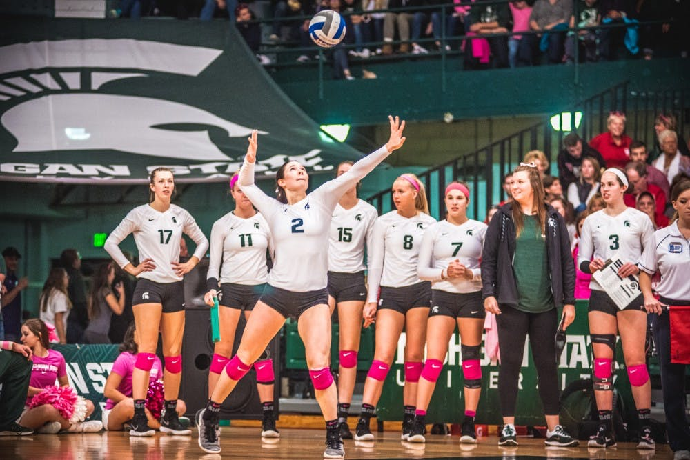 Red shirt senior outside hitter Autumn Bailey (2) serves the ball during the game against Nebraska on Oct. 27, 2017, at Jennison Fieldhouse. The Spartans were defeated by the Cornhuskers, 3-1.