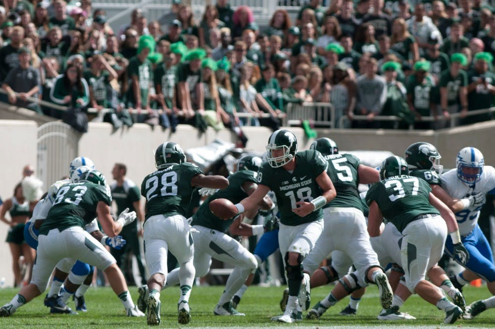 <p>The State News football writers Nathaniel Bott and Stephen Olschankski are providing a preview of each position group for MSU football.&nbsp;A trio of running backs, Gerald Holmes, Madre London and LJ Scott each saw more than 100 carries last season in keeping with MSU's strategy to involve multiple running backs in its ground attack. All three provided tough running for the Spartan offense and eroded defenses late in games, helping to keep MSU balanced through the ground and the air. Expect more of the same from the Spartans, unless one back emerges to be Le'veon Bell 2.0</p>