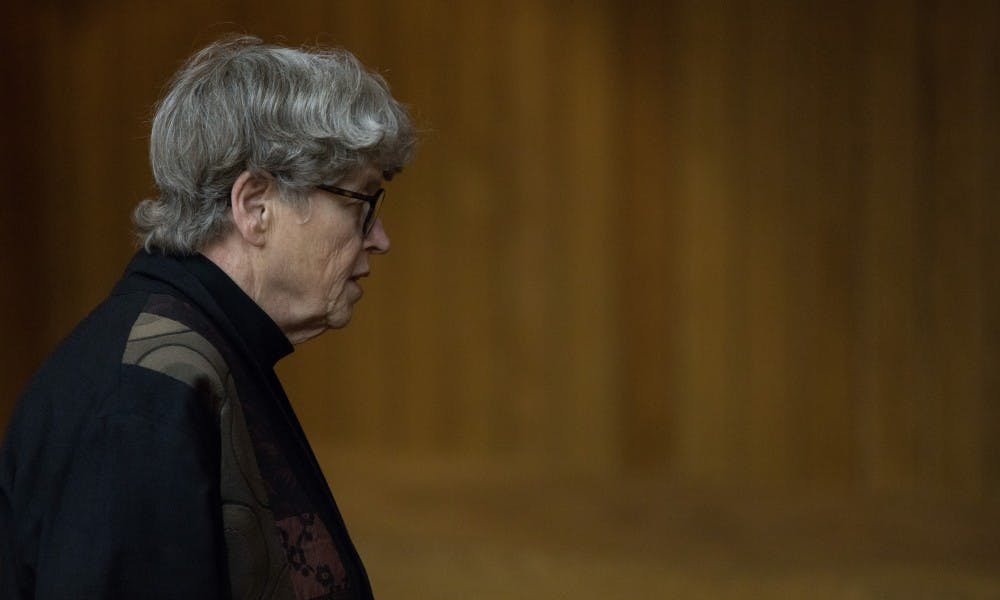 <p>Former Michigan State University President Lou Anna K. Simon appears at a preliminary hearing at Eaton County District Court on April 16, 2019. Simon is charged with four counts of lying to a peace officer, including two felonies.</p>