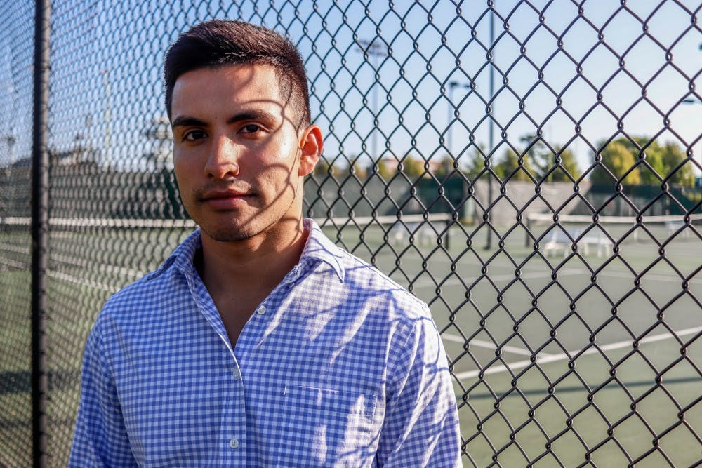 <p>Graduate student Juan Mascorro-Guerrero poses for a portrait on Sept. 18.</p>