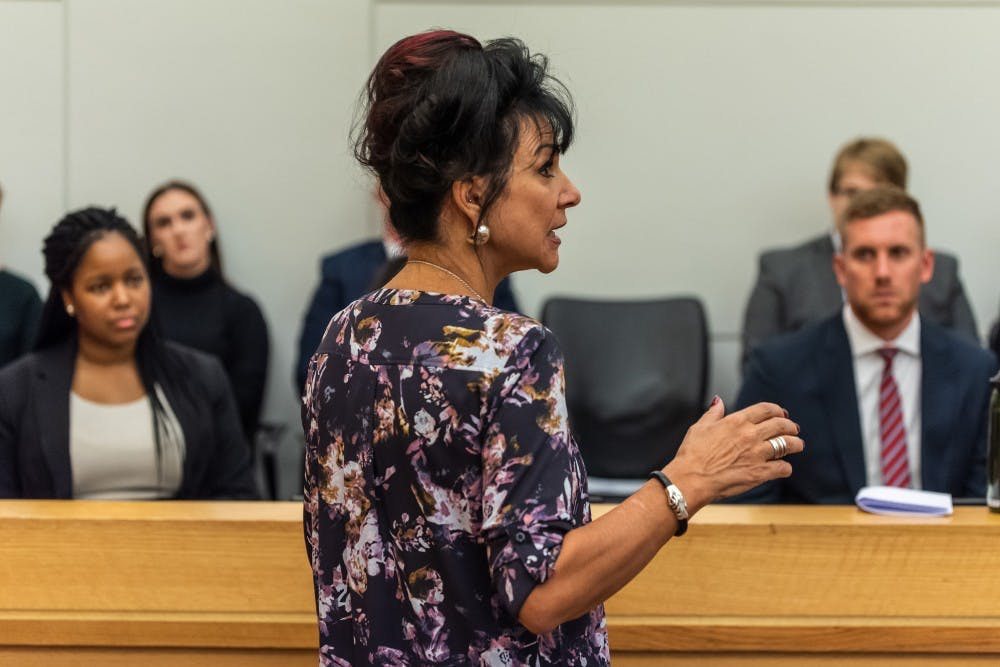 <p>Judge Rosemarie Aquilina teaches a class at the MSU College of Law on Oct. 15, 2019. </p>
