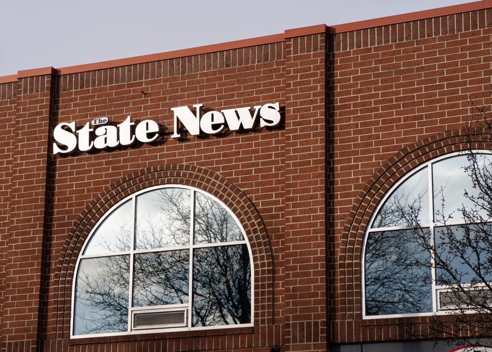 The State News building sign on Grand River Avenue.