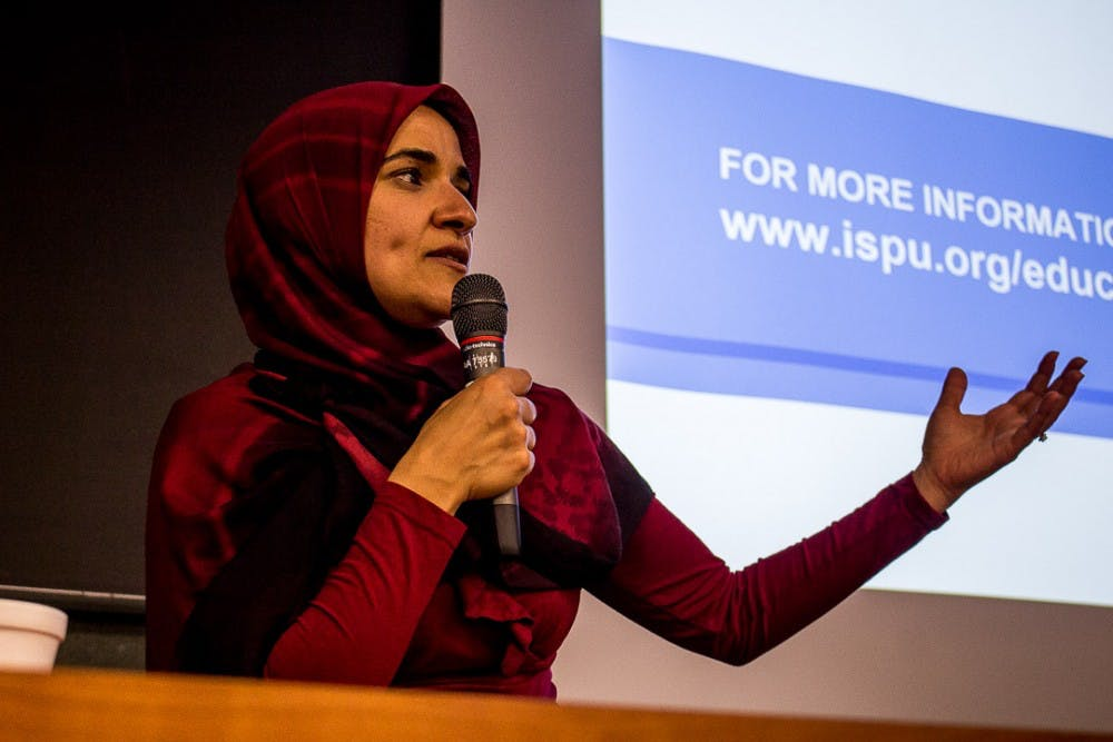 <p>Dalia Mogahed speaks to MSU students and faculty about Muslims and US politics on Oct. 1, 2018 at the International Center.&nbsp;</p>
