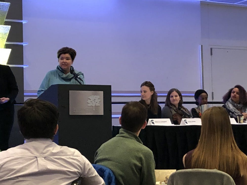 <p>Michigan State professor Rebecca Campbell speaks at the James Madison Diversity Leadership Program Symposium on April 5. Campbell is the Chairperson of the MSU RVSM Expert Advisory Workgroup.</p>