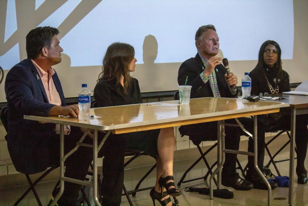 <p>The MSU Board of Trustees Candidate Forum at Wells Hall on Oct. 2, 2018. From left to right, Dave Dutch, Kelly Tebay, Mike Miller and Brianna Scott.</p>