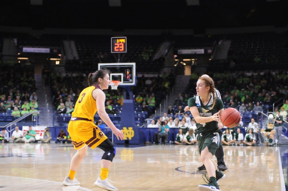 <p>Junior guard Taryn McCutcheon matches up against Central Michigan guard Presley Hudson</p>