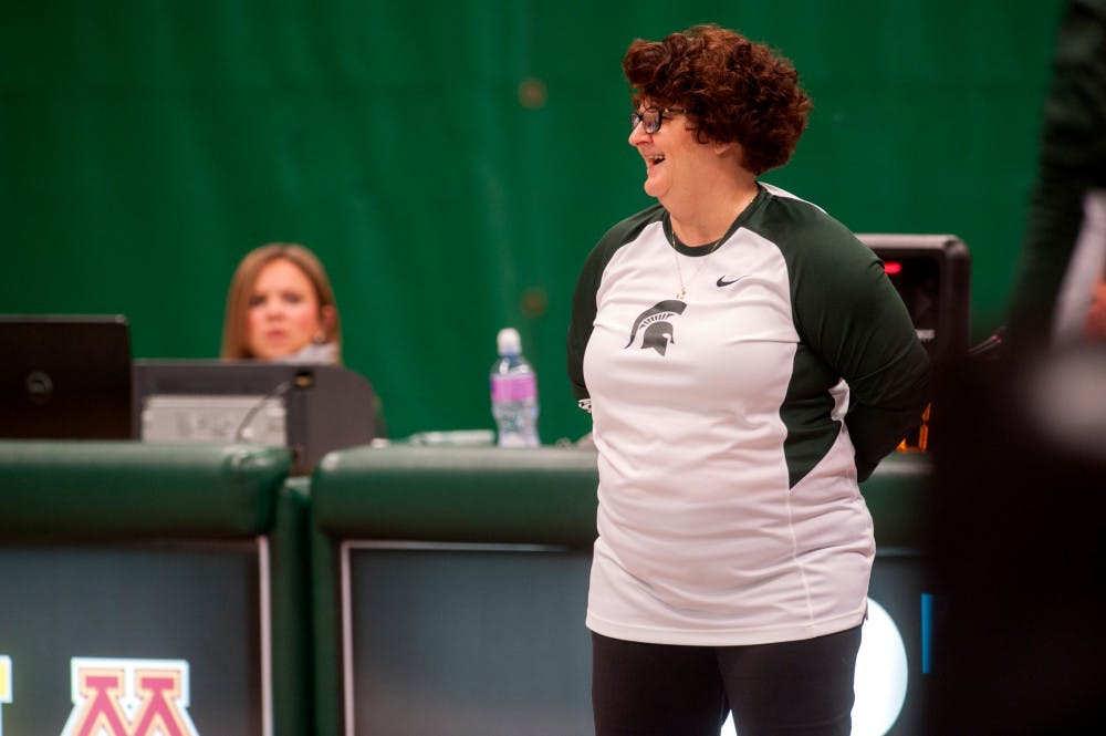 Head coach Kathie Klages reacts during the  MSU womens gymnastic's meet against Illinois on Feb. 19, 2016 at Jenison Field House.