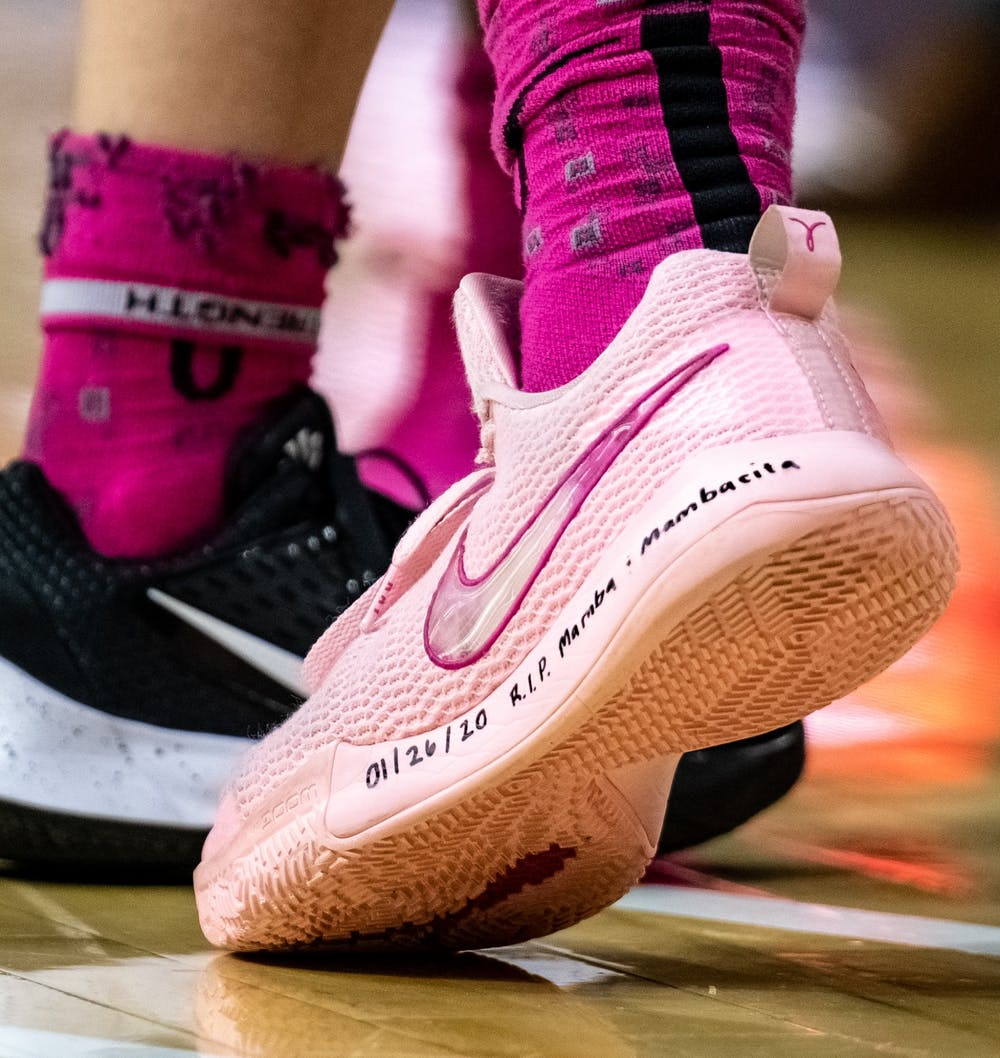 <p>Senior forward Nia Hollie&#x27;s (12) shoe photographed during a basketball game against Michigan on Feb. 23, 2020.</p>