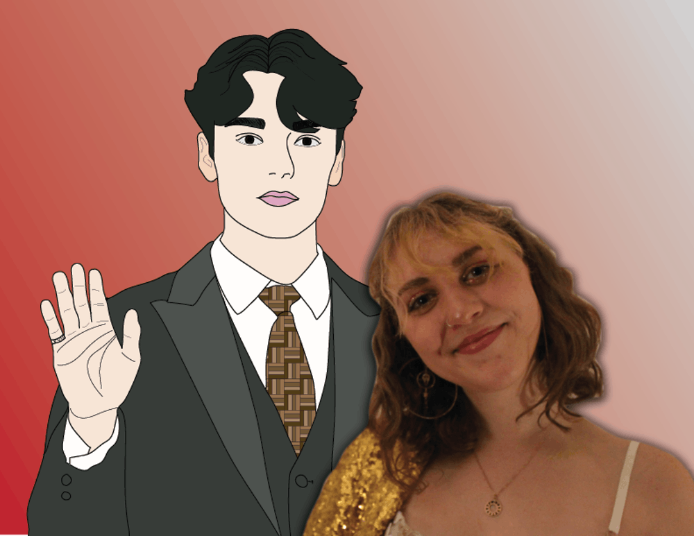 <p>An illustration of Hansol &quot;Vernon&quot; Chwe with a photo of Karly Graham. </p>