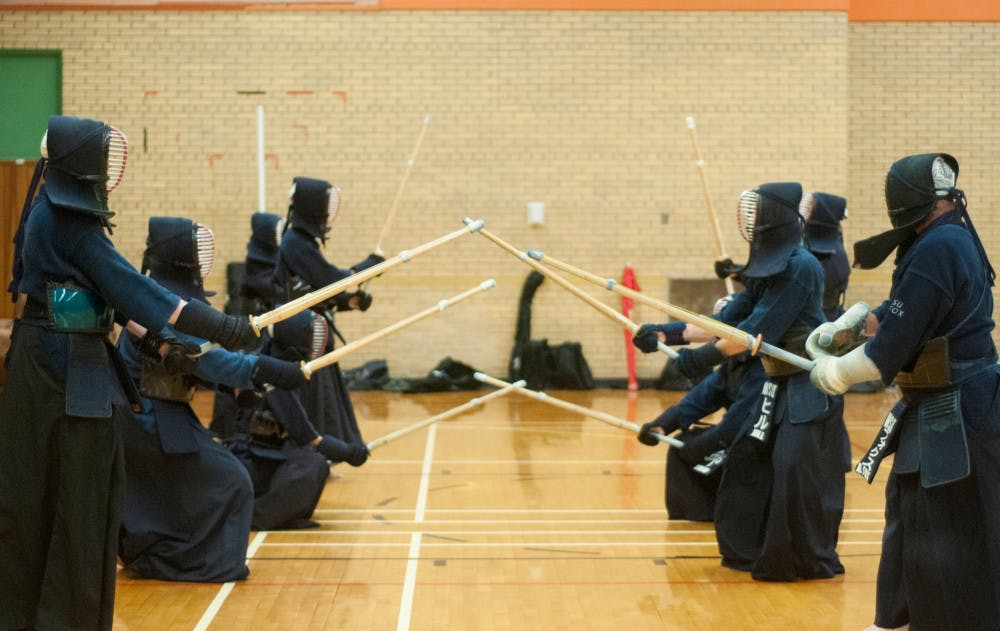 <p>The MSU Kendo Club advanced members practice Sept. 8, 2015. Kendo is a Japanese martial art that teaches discipline in both body and mind. This is the club's second meeting for the semester.</p>