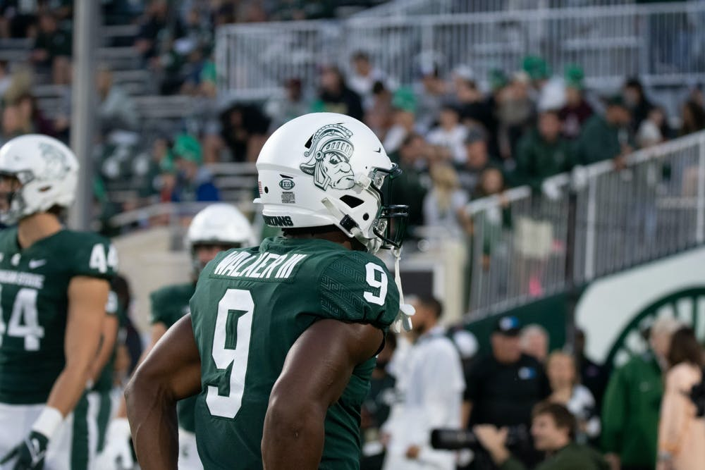 <p>Redshirt junior running back Kenneth Walker lll during the MSU homecoming game against Western Kentucky on Oct. 2, 2021. </p>