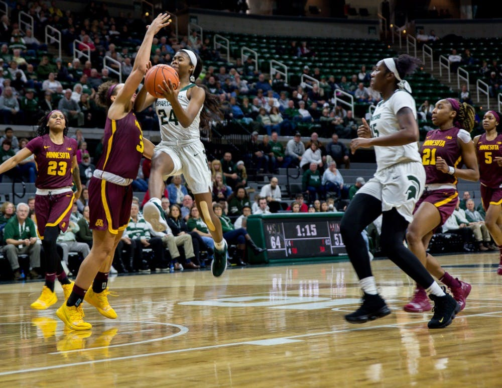 Freshman guard Nia Clouden (24) goes up for a shot during the game against Minnesota on Jan. 9, 2019 at Breslin Center. The Spartans beat the Gophers, 86-68.