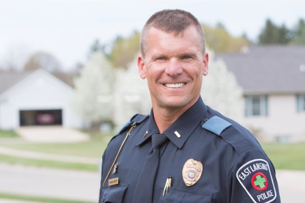 <p>East Lansing police Lt. Scott Wriggelsworth is campaigning to become Ingham County Sheriff. &nbsp;Photo courtesy of Scott Wriggelsworth</p>