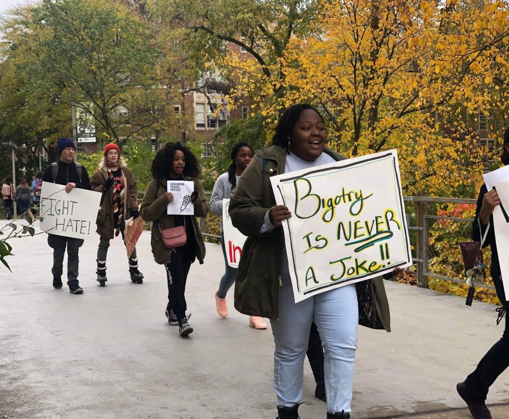 <p>Students protest the recently reported racist incidents on MSU&#x27;s campus at Wells Hall on Oct. 25.</p>