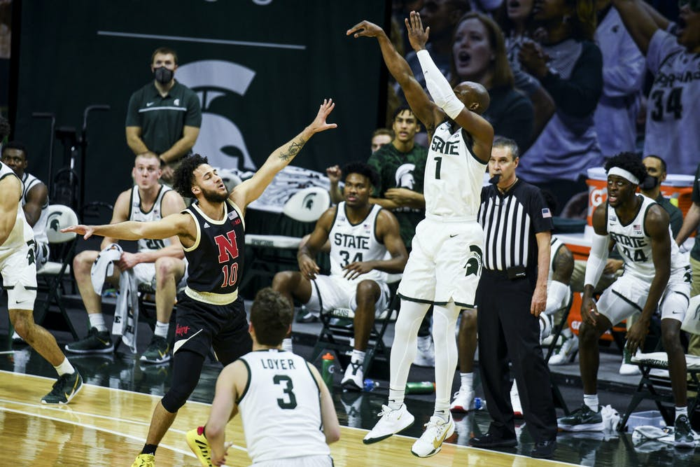 Grad student guard Joshua Langford (1) shoots for a 3-pointer during the game against Nebraska on February 6, 2021 at the Breslin Center. The Spartans defeated the Cornhuskers 66-56.