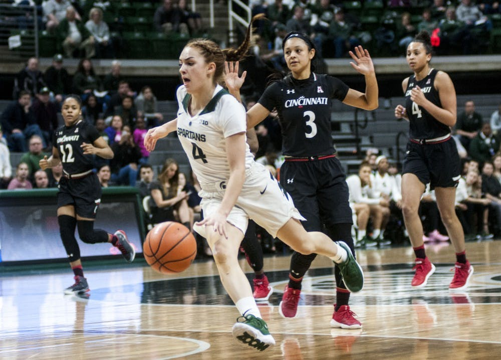<p>Sophomore guard Taryn McCutcheon (4) flies past Cincinnati guard Ana Owens (3) during the first half of the Women's National Invitation Tournament against Cincinnati on March 15, 2018 at Breslin Center. The Spartans were leading against the Bearcats at halftime, 46-36.(Annie Barker | State News)</p>