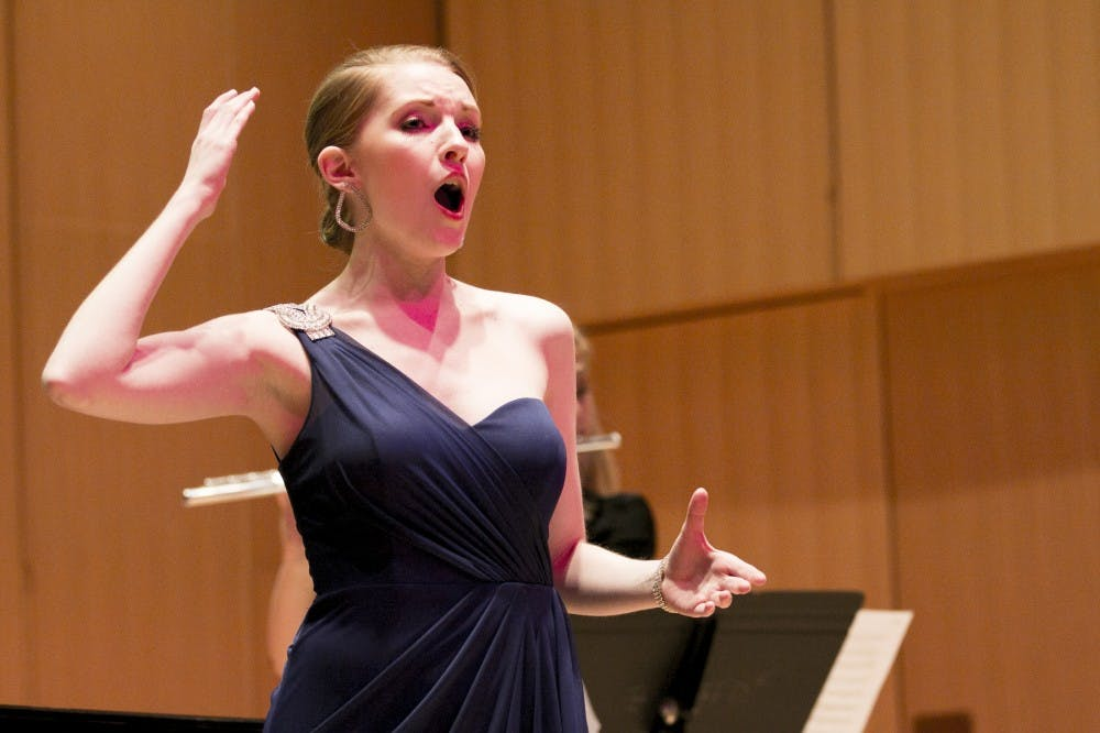Music performance masters student Catherine Goode sings before her recital on April 15, 2016 at Cook Recital Hall in the Music Building.