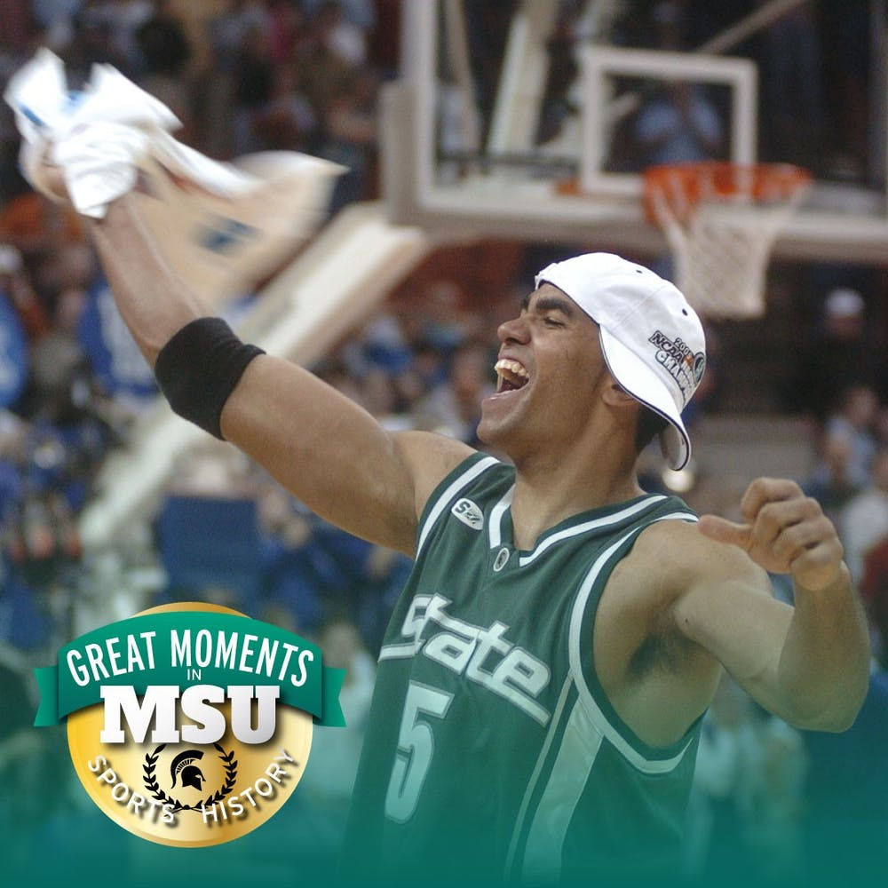<p>MSU&#x27;s Chris Hill celebrates following a double-overtime win against Kentucky, earning the Spartans&#x27; fourth trip to the in seven years to Final Four on Mar. 27, 2005. Photo by Clint Spaulding. Design by Daena Faustino.</p>