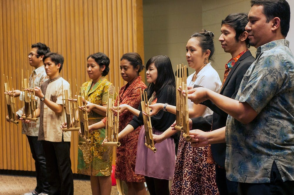 "<p>Students play traditional and modern songs on the anklungs Nov. 16, 2013, in the Erickson Hall Kiva. The <span class=""caps"">MSU</span> Indonesian Student Association put on the sixth annual Indonesian Culture Night which shows traditional dancing, music and authentic foods.</p>"