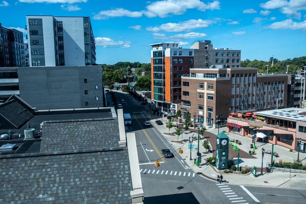 Downtown East Lansing on Sept. 18, 2020. The city of East Lansing has posted signs and has information stations with free masks for those who visit the area.