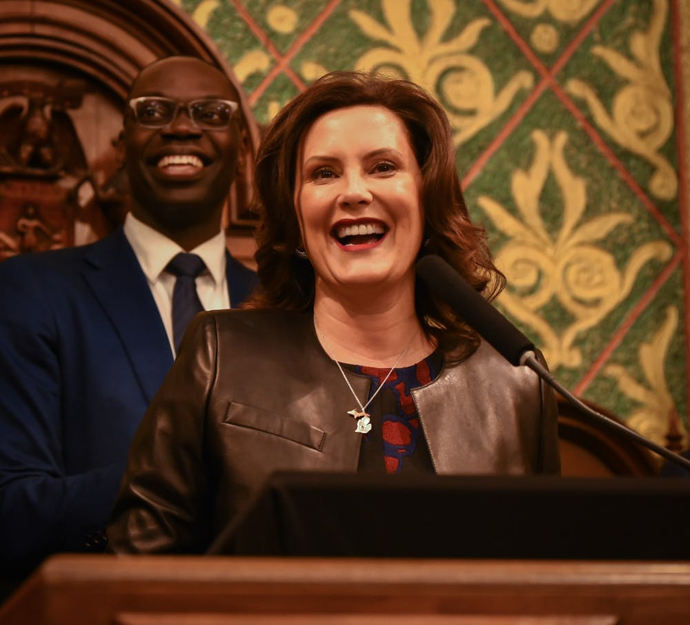 Michigan Gov. Gretchen Whitmer during her second State of the State address at the Michigan State Capitol in Lansing on January 29, 2020.
