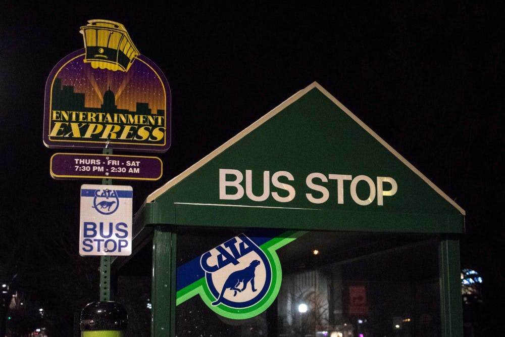 Pictured is the signage at the CATA Entertainment Express bus stop on Grand River Avenue. The bus runs along CATA's 4 route.