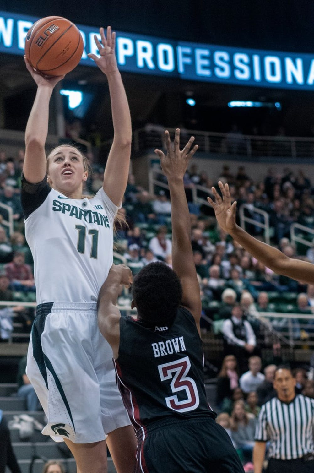 <p>Junior forward Annalise Pickrel goes to shoot the ball during the game against Temple on Dec. 29, 2012, at Breslin Center. Pickrel was the leading scorer for the Spartans with a total of 16 points, helping them beat the Owls 57-47. Natalie Kolb/The State News</p>