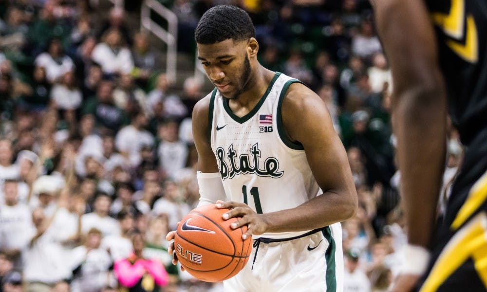 Freshman forward Aaron Henry (11) shoots a free throw during the game against Iowa University at Breslin Center on Dec. 3, 2018. The Spartans defeated the Hawkeyes, 90-68.