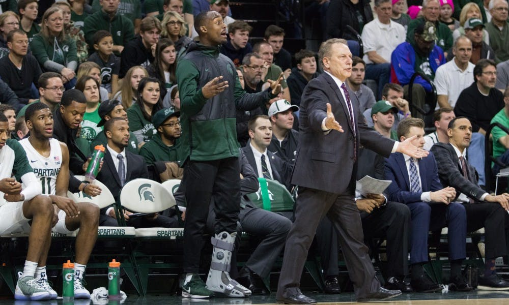 <p>Junior guard Joshua Langford (1) shouts to other players during the game against Northwestern University on Jan. 2, 2019 at Breslin Center. The Spartans defeated the Wildcats, 81-55. Langford is out with an injury to his left ankle.</p>