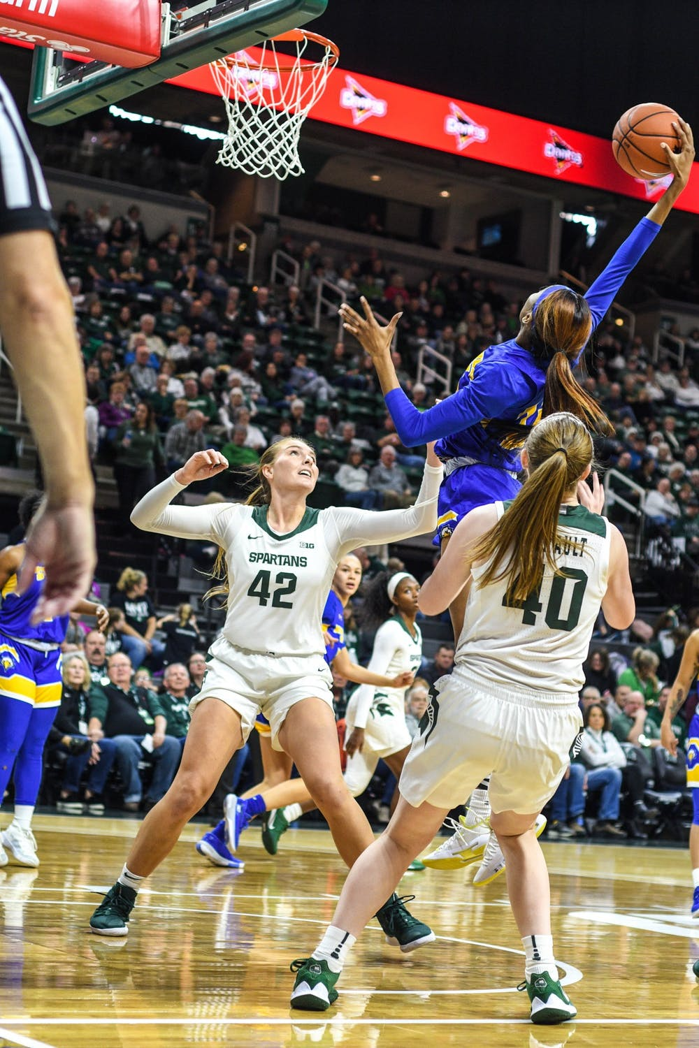 Morehead State's forward Orlandra Humphries shoots the ball against MSU during the game against Morehead State at Breslin Center on Dec. 15, 2019. The Spartans defeated the Eagles, 93-48.