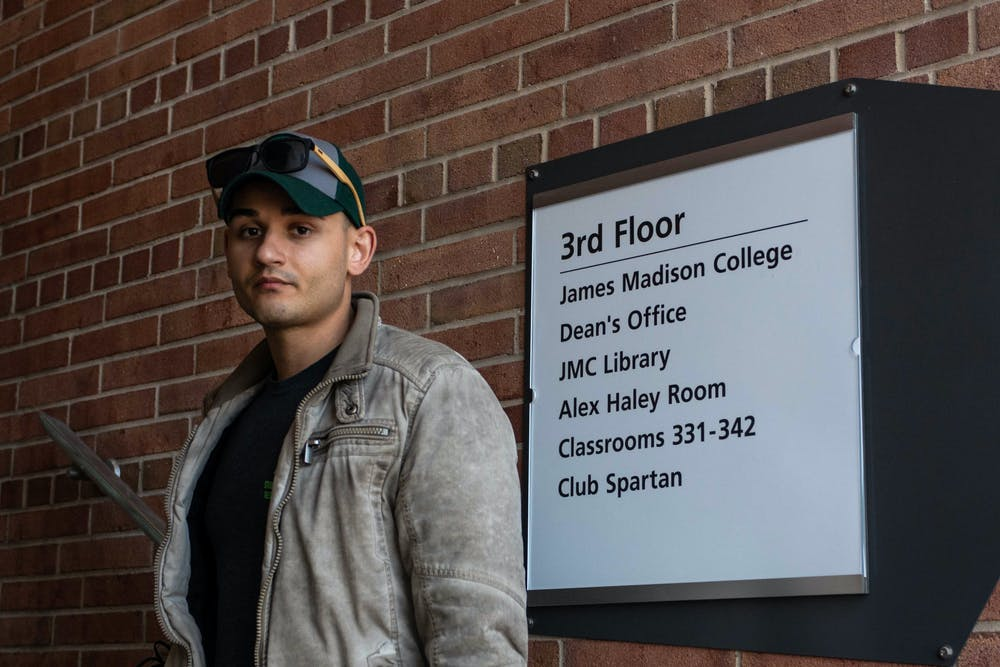 David Versin, 24, is a student veteran studying international relations through James Madison. Versin wants more students to get involved with the program and holds the Vice President position of Michigan State's chapter. Shot on Mar. 19, 2021.