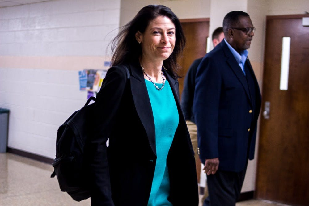 Dana Nessel enters Wells Hall on Oct. 22, 2018 for a meeting with MSU College Democrats. Nessel is running for Michigan attorney general in the upcoming election.