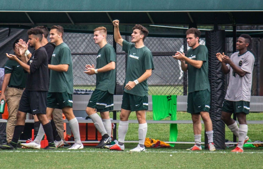 The Spartans cheer after a goal during the game against UC Riverside on Sept. 2, 2018 at DeMartin Stadium. The Spartans defeated the Highlanders: 5-1.