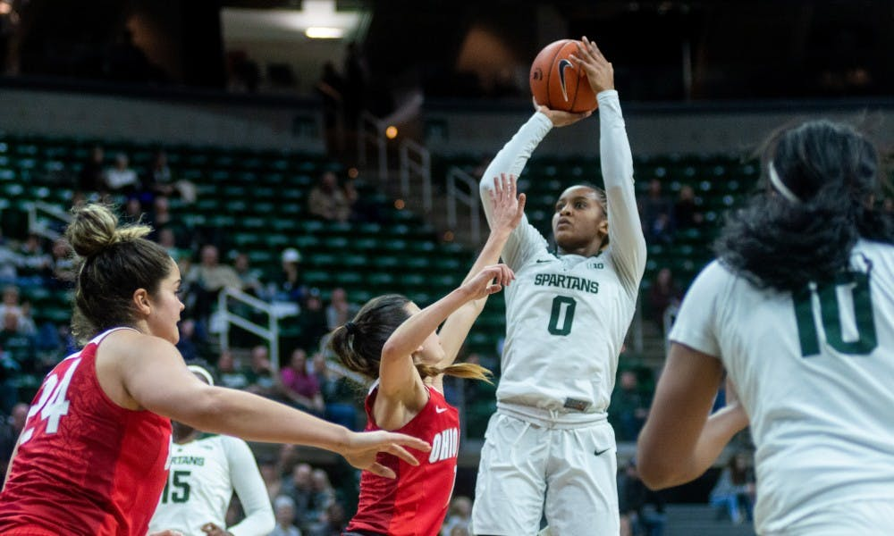 <p>Junior guard Shay Colley (0) takes a shot against Ohio State. The Spartans lost to the Buckeyes, 70-77, Feb. 21, 2019 at the Breslin Center.</p>