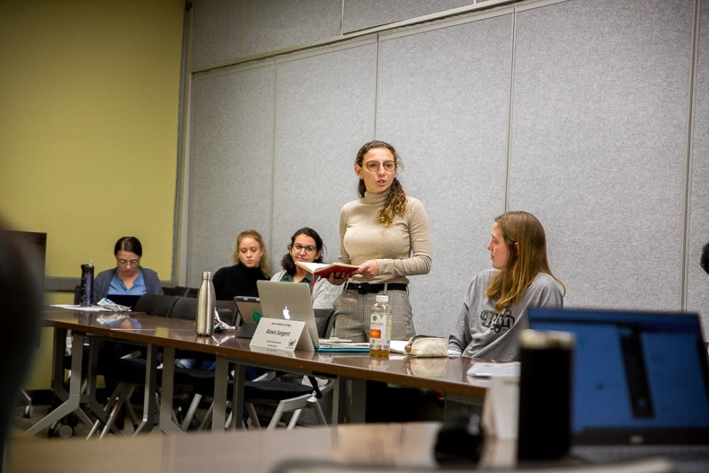 """ASMSU President Katherine """"Cookie"""" Rifiotis addresses a committee during an ASMSU meeting on Jan. 24, 2019, at the Student Services Building."""