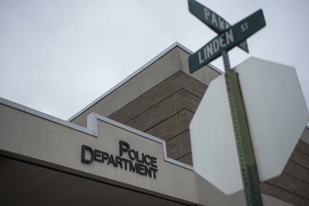 The East Lansing Police Department is located on the corner of Linden Street and Park Lane. Shot on September 10, 2020.
