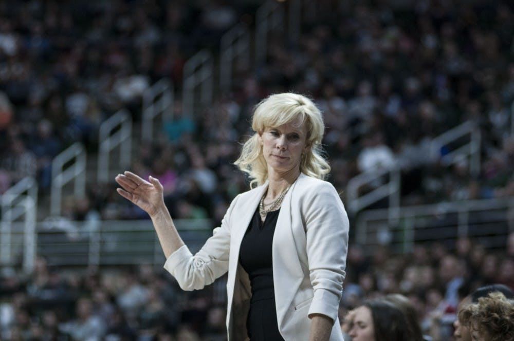Head Coach Suzy Merchant rolls her eyes during the game against Indiana on Jan. 20, 2018, at Breslin Center. The Spartans fell to the Hoosiers 69-65. (C.J. Weiss | The State News)