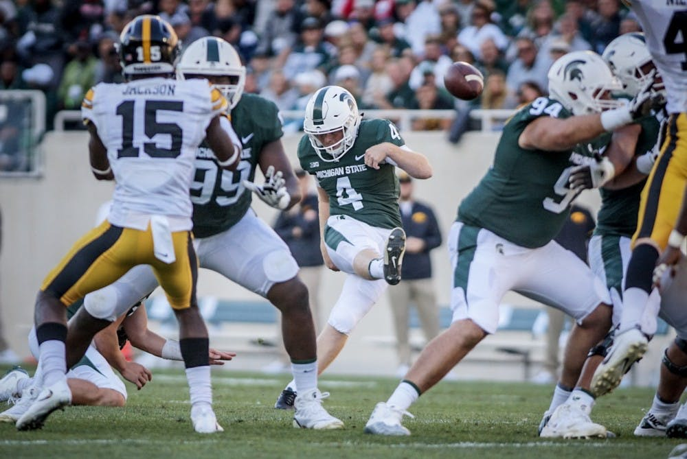 Redshirt freshman kicker Matt Coghlin (4) kicks a field goal during the game against Iowa on Sept. 30, 2017, at Spartan Stadium. The Spartans defeated the Hawkeyes, 17-10.