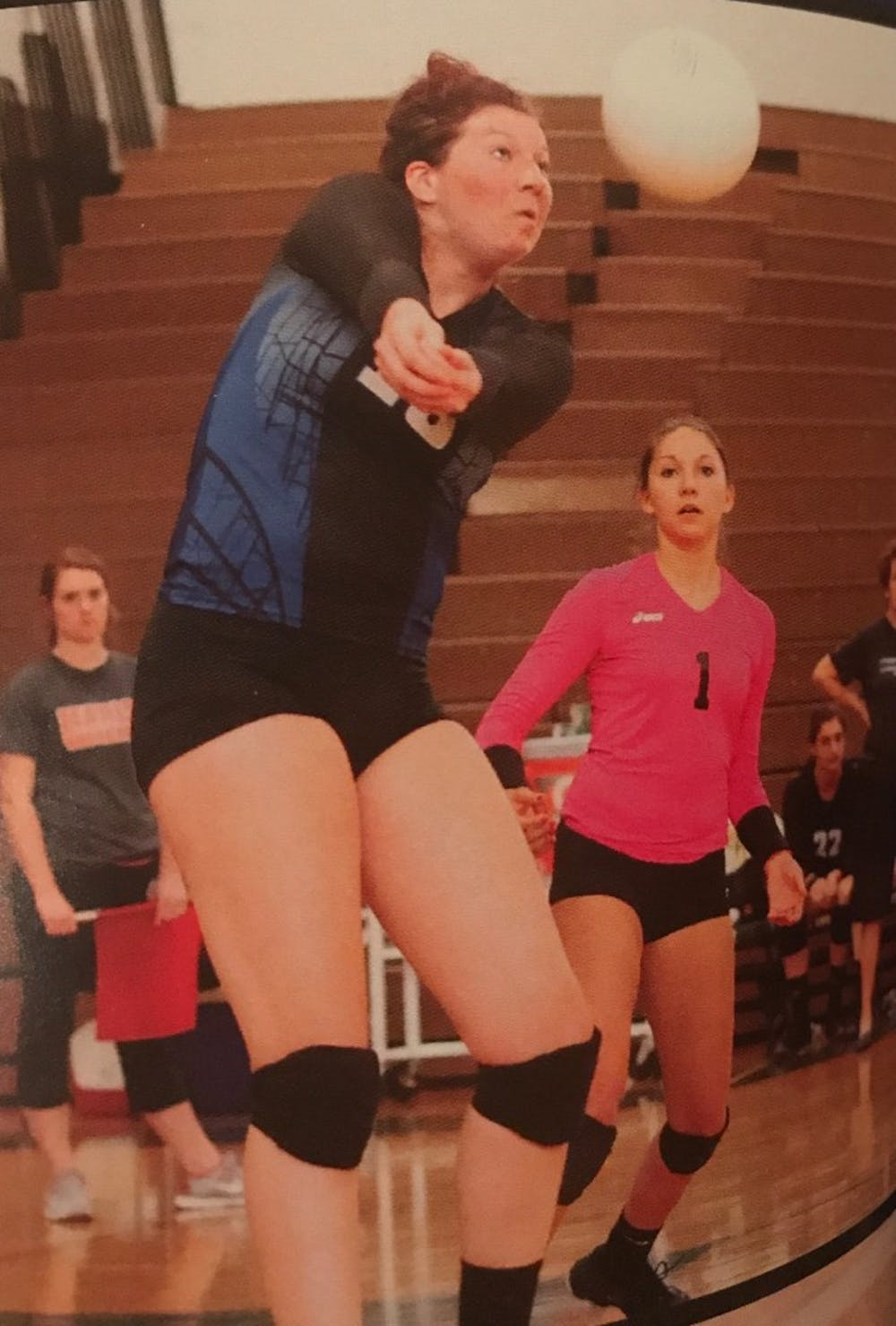 Maddie Haggerty gets ready to bump the ball to her setter during her senior year of high school at St. Francis