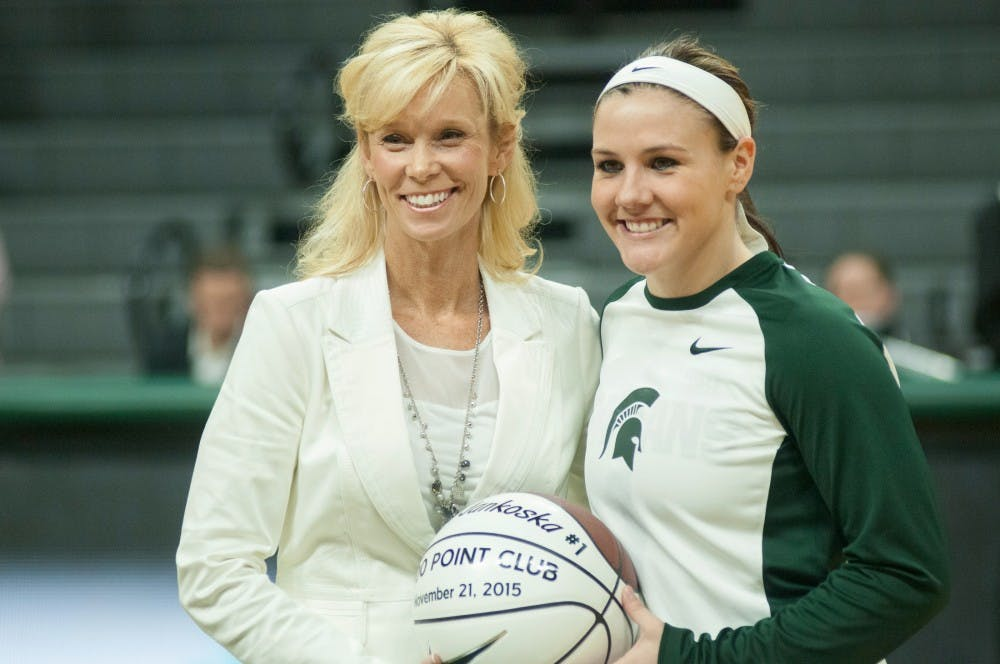 Junior guard Tori Jankoska and women's basketball head coach Suzy Merchant poses for a picture on Dec, 3, 2015 before the game against Louisville at Breslin Center. Jankoska was awarded this honor for having over 1,000 points in her career as a spartan.