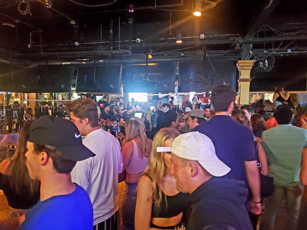 <p>A crowd inside Harper&#x27;s Restaurant and Brewpub at the reopening June 8.</p>