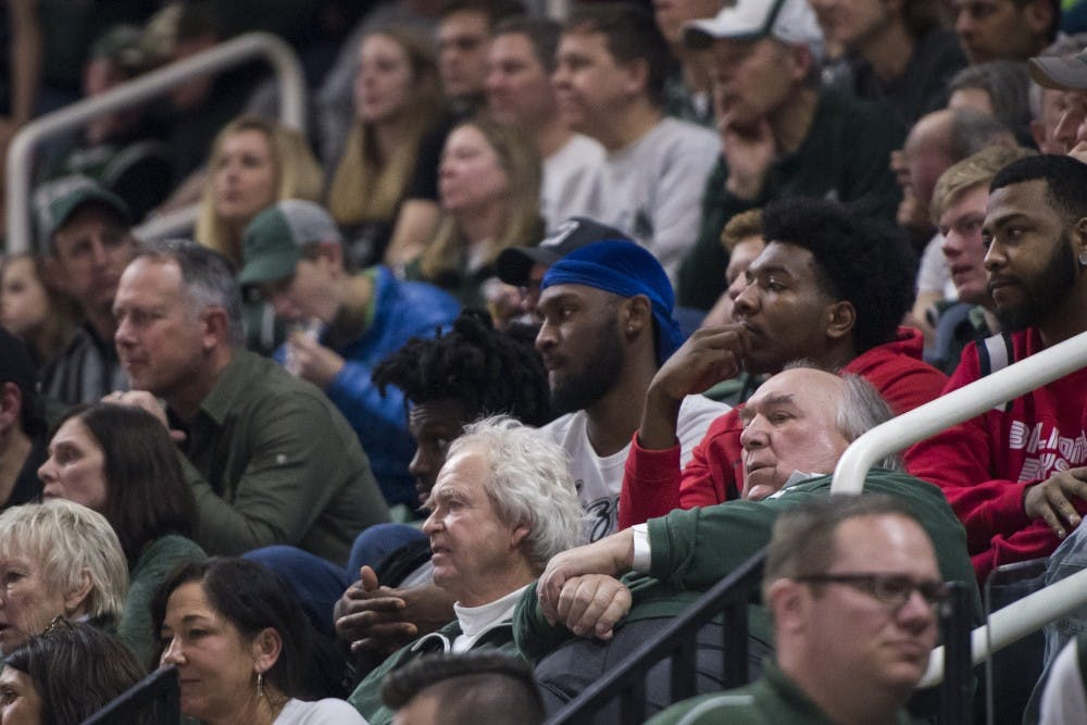 Former interim MSU President John Engler attends the men's basketball game against Indiana on Feb. 2, 2019 at Breslin Center. Michigan State lost to Indiana in overtime 79-75. Nic Antaya/The State News