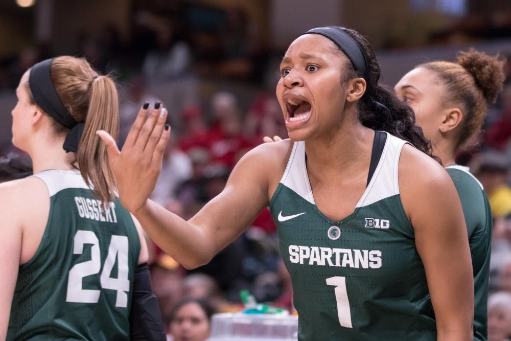 <p>Freshman forward Sidney Cooks (1) yells after a foul wasn't called during the game against Indiana on March 1, 2018 at Bankers Life Fieldhouse. The Spartans fell to the Hoosiers, 111-109, in 4OT.</p>