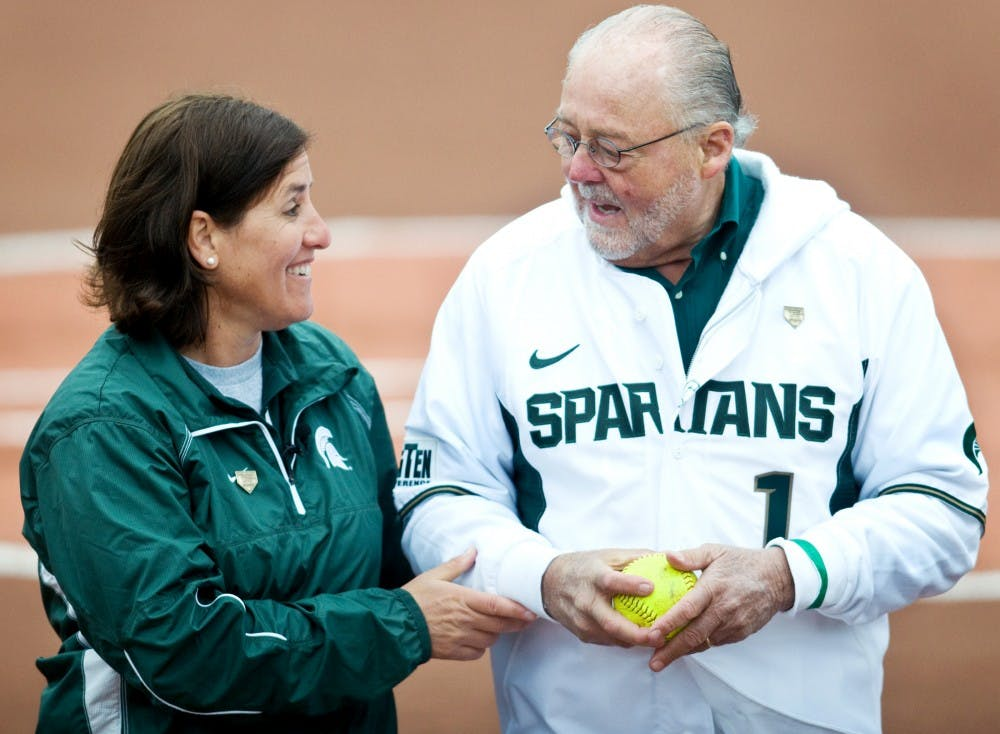 <p>Coach Jacquie Joseph and Ambassador Peter Seccia share a moment after he threw the first pitch before the game Saturday at Seccia Stadium. Seccia donated a significant amount to the stadium and it was named in his honor.</p>