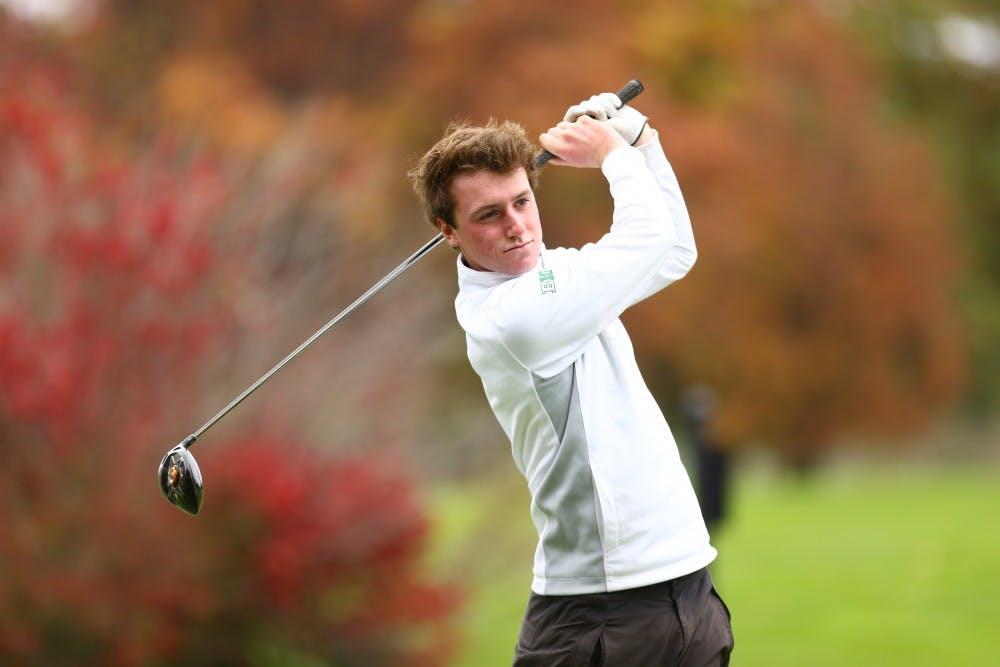 <p>MSU junior golfer Gareth Lappin swings a golf club at Forest Akers. Photo courtesy Matt Mitchell/MSU Athletics</p>