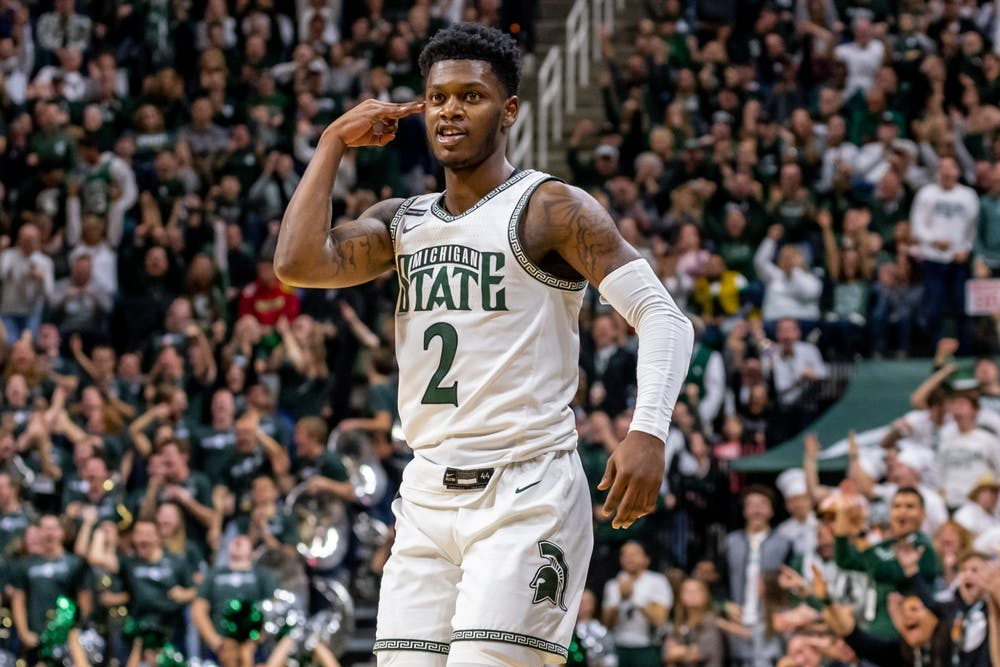 <p>Freshman guard Rocket Watts (2) celebrates after making a three-pointer against Maryland. The Spartans fell to the Terrapins, 60-67, at the Breslin Student Events Center on Feb. 15, 2020. </p>